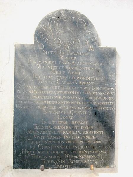 Dalle funéraire de Jean-Charles Simony