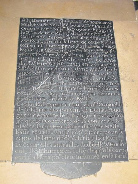 Dalle funéraire de Jacob Hurlot, marchand bourgeois de Paris