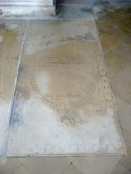 Dalle funéraire de maître Antoine Lefebvre et dame Anne Bertin, sa femme