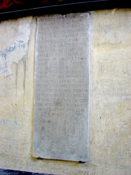 Plaque de fondation de l'église du couvent des Capucins de Nogent-sur-Seine