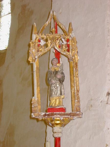 2 bâtons de procession : Saint Nicolas, saint Vincent