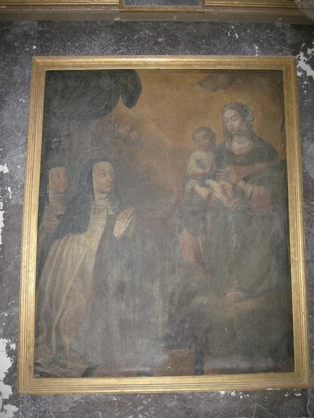 Tableau : Apparition de la Vierge à sainte Thérèse (?)