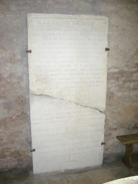 Dalle funéraire de Catherine Michelet
