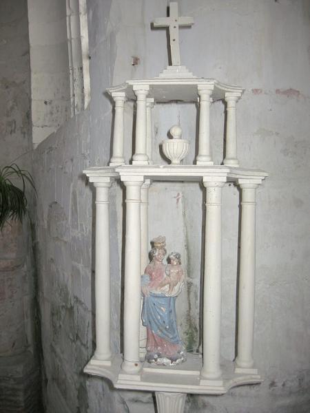 2 bâtons de procession de confrérie : Vierge à l'Enfant