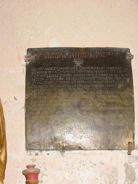 Plaque commémorative de fondation de Anne et Marie-Anne Garnier