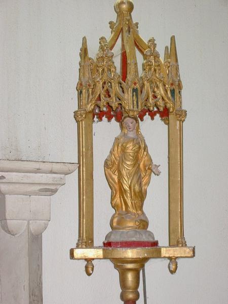 3 bâtons de procession de confrérie : Vierge, saint Éloi, saint Pierre