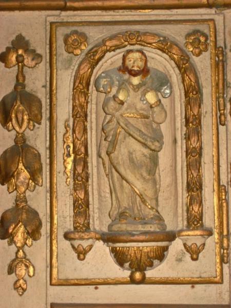 4 statuettes : Vierge à l'Enfant, Bon pasteur, saint Joseph, saint Paul