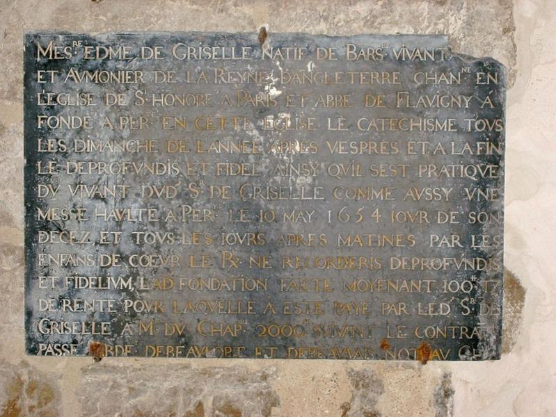 Plaque commémorative de fondation de Edme de Griselle