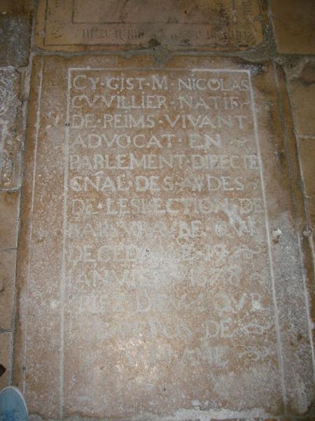Dalle funéraire de Nicolas Cuvillier