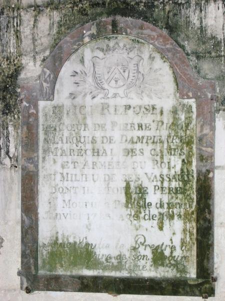 Dalle funéraire de Pierre Picot
