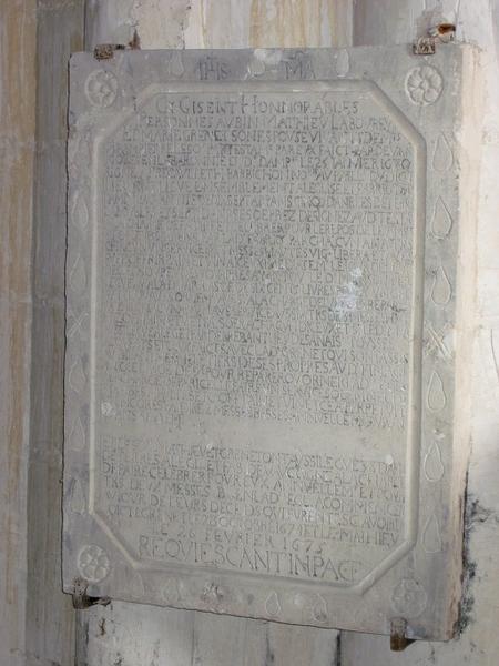 Plaque commémorative de Aubin Mathieu et Marie Grenet sa femme