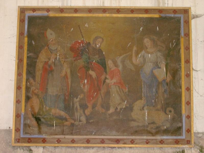 Tableau : Saint guérissant un infirme, saint Roch, sainte Marguerite