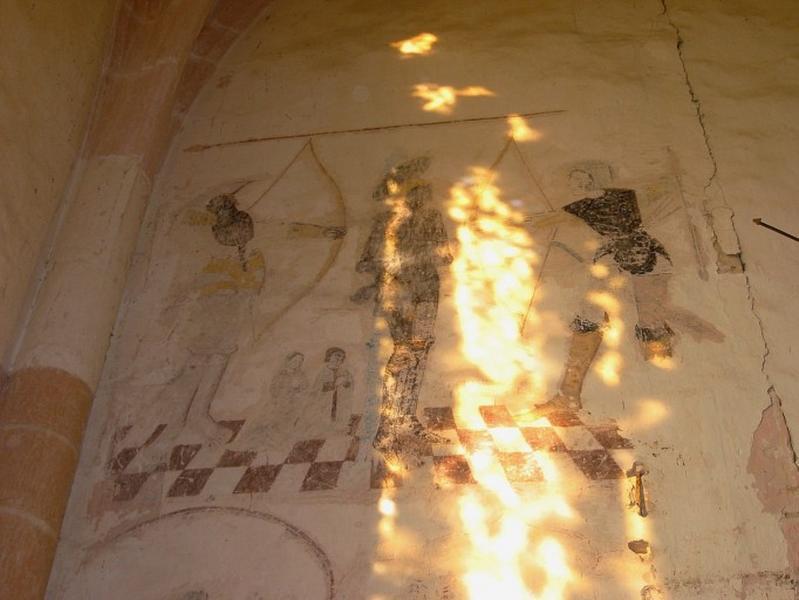 Peinture monumentale : Saint Sébastien avec donateurs, saint Michel
