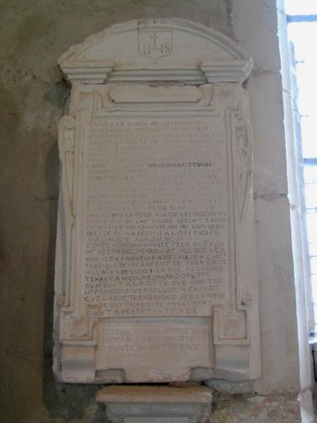 Plaque commémorative de fondation d'Alexandre Verollot et de sa femme, Edmée Noiron
