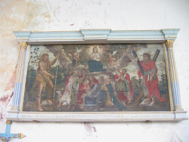 Panneau peint : Mort de la Vierge, saint André, saint Jean-Baptiste, cadre