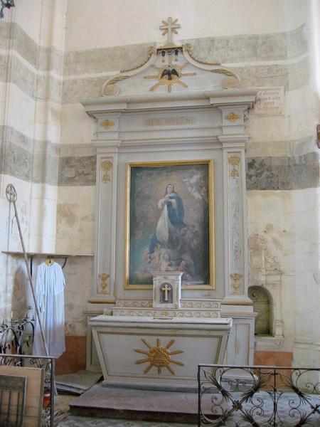 Autel et retable, tableau d'autel : Immaculée Conception