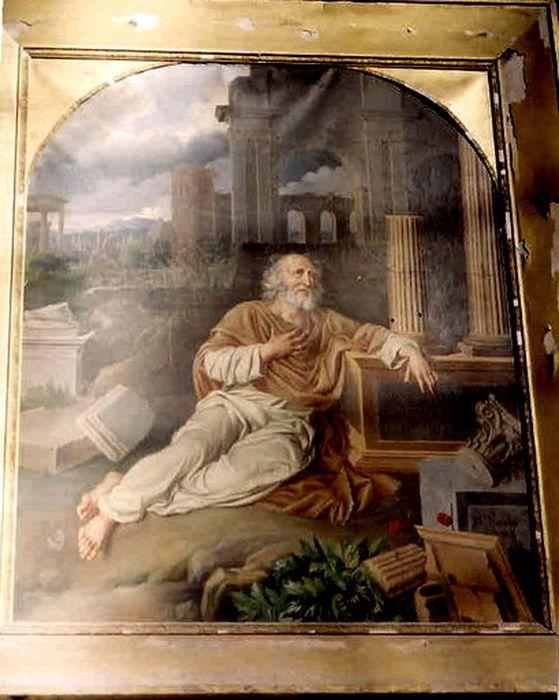 Tableau et son cadre : Lamentations de Jérémie annonçant la ruine de Jérusalem