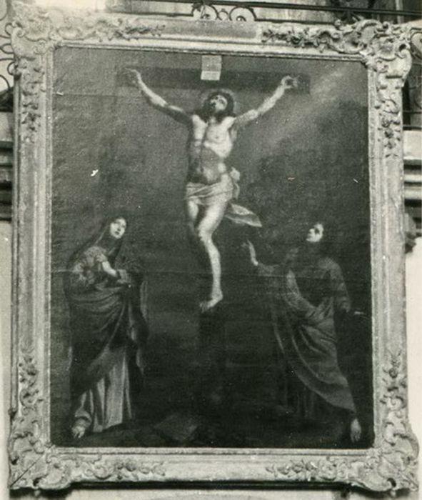 tableau : Christ en croix entre la Vierge et saint Jean, cadre