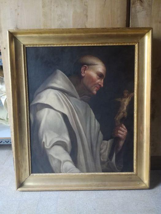 Tableau et son cadre : Saint Bruno ou Chartreux en méditation