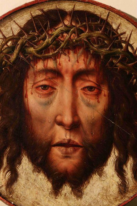 Tableau : Tête de Christ à la Couronne d'épines, cadre
