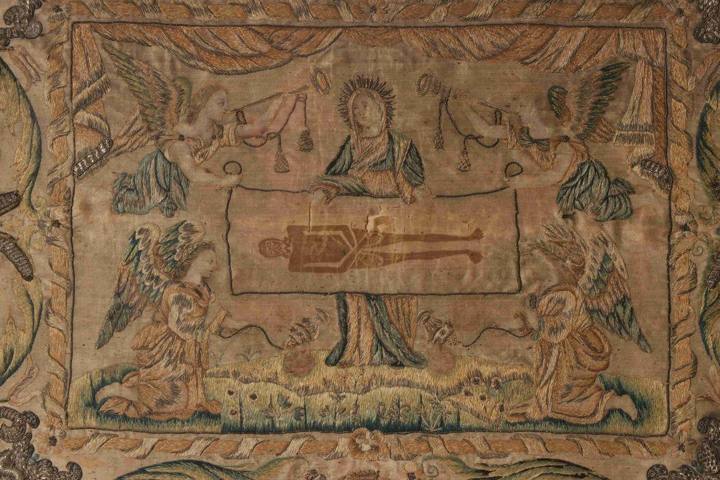 Tableau de broderie : Le Saint Suaire, cadre