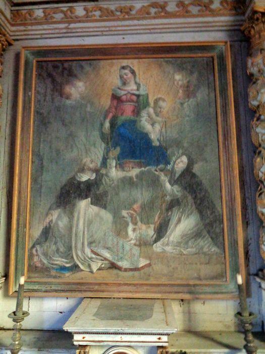 Autel et retable du Rosaire ; tableau de la Donation du Rosaire ; 2 statues : Sainte moniale, Saint Sébastien