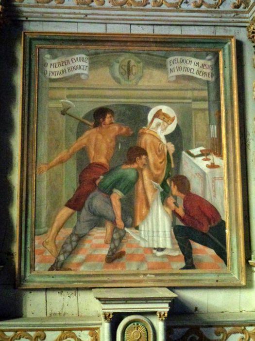 Autel ; retable ; tableau : Le Martyre de saint Cadou (?) ; statue : Saint en dalmatique