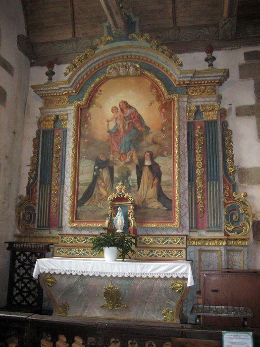 autel et retable, tableau: Rosaire