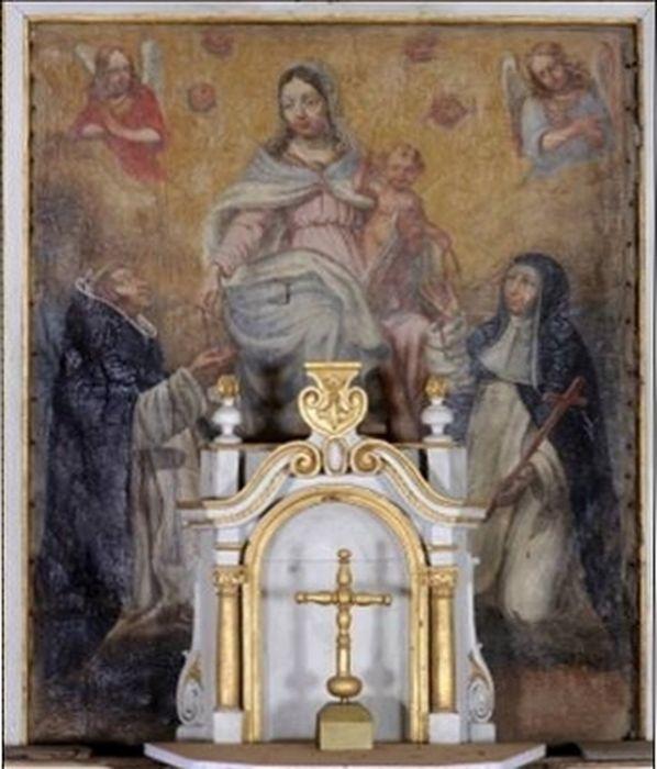 retable, tabernacle, tableau : Don du Rosaire à saint Dominique et à sainte Catherine de Sienne, statue : Christ en croix et peinture monumentale : Calvaire