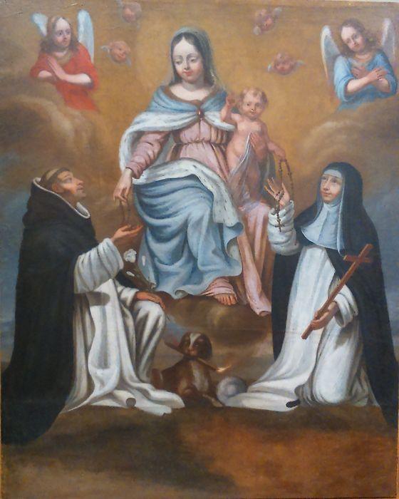 Tableau : Don du Rosaire à saint Dominique et à sainte Catherine de Sienne