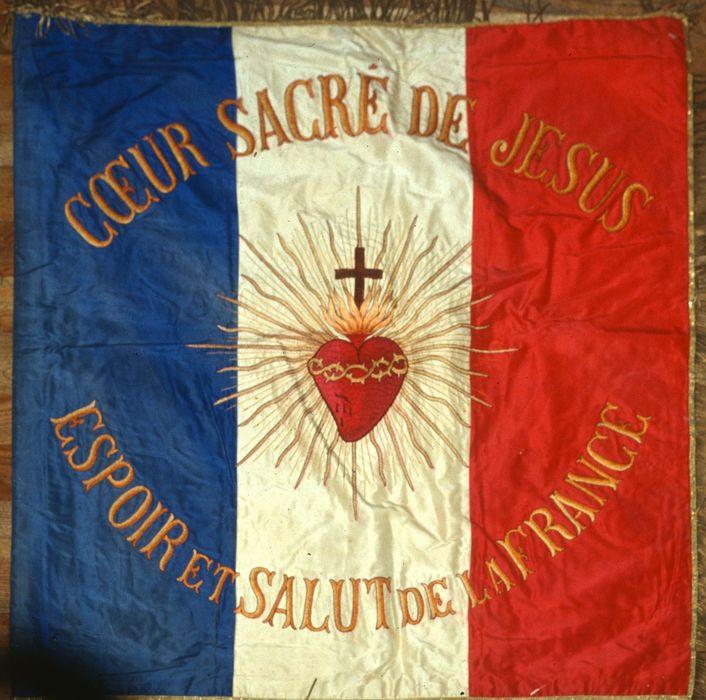 bannière d'église : Coeur Sacré de Jésus, Espoir et Salut de la France