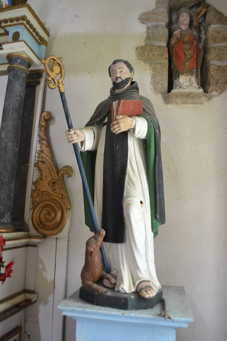 statue : Saint moine au chien ou à la biche