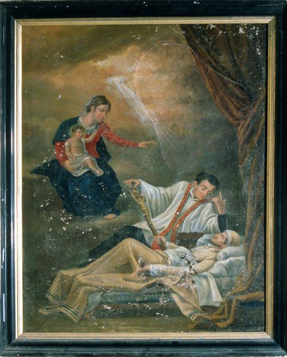 tableau ex-voto : Vierge apparaissant à un mourant