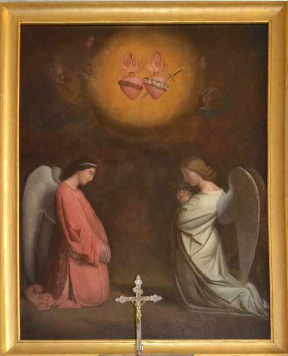 tableau : Adoration des coeurs de Marie et Jésus