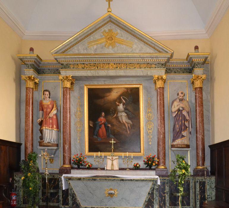 retable du maître-autel, tableau : Annonciation, statues : Saint Pierre et Saint Etienne