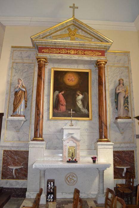 retable de l'autel des coeurs de Marie et Jésus