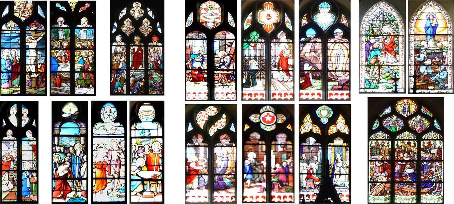 Dix-sept verrières : Cène (baie 1), Calvaire (baie 2), Annonciation (baie 3), Jésus présenté au peuple (baie 6), Christ juge (baie 8), Baptême du Christ (baie 10), Baptême de Clovis (baie 14), Baptême de Constantin (baie 12), Sainte Famille (baie 4), Couronnement de Charles VII (baie 5), Apparition du Sacré-Coeur à Marguerite Marie Alacocque (baie 7), Apparition de la Vierge à Bernadette Soubirous (baie 9), Délivrance de Saint Pierre par un ange (baie 11), Saint François de Sales enseignant (baie 16), Education de Saint Louis (baie 13), Sainte Elisabeth de Hongrie distribuant du pain aux mendiants (baie 18), Vierge à l'Enfant apparaissant aux poilus dans les tranchées (baie 15)
