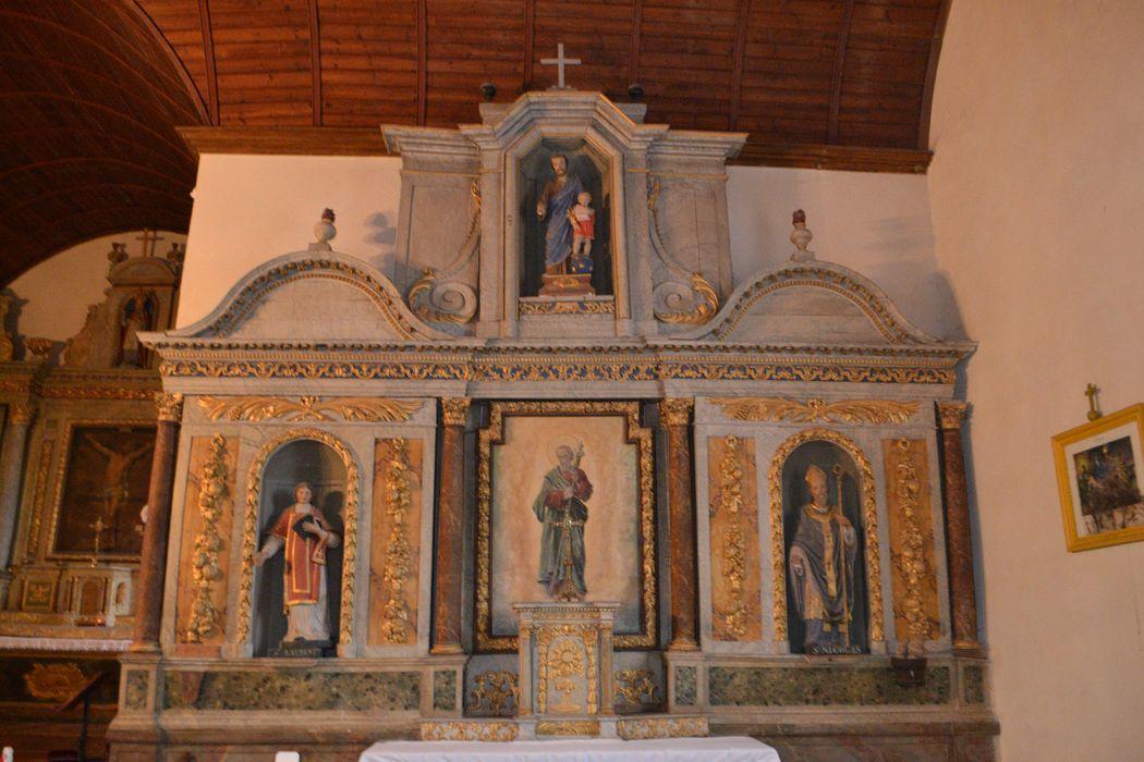 autel de saint Joseph tabernacle, retable, tableau : Saint Joseph, statues : Saint Joseph, saint Laurent, saint Nicolas