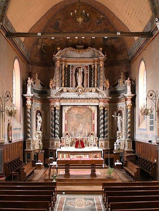autel (maître-autel), retable, statues : Saint Ouen, saint Pierre, saint Paul, tableau : Adoration des bergers