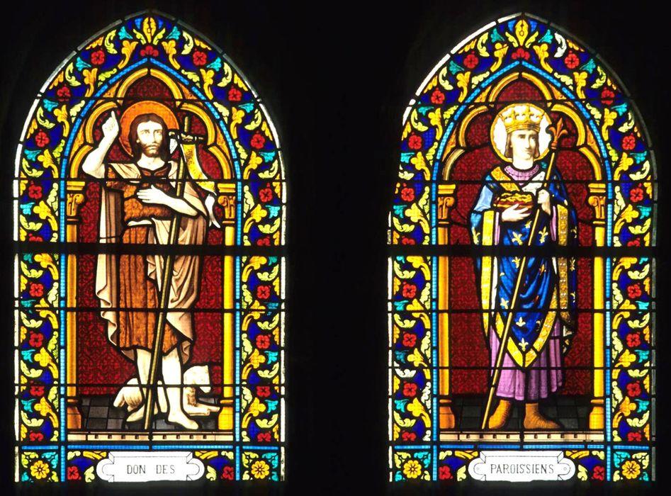 Deux verrières (baies ogivales) du choeur : Saint Jean-Baptiste et Saint Louis
