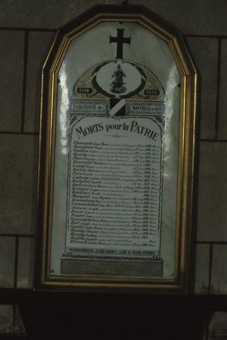 plaque commémorative à la mémoire des morts de 1914-1918