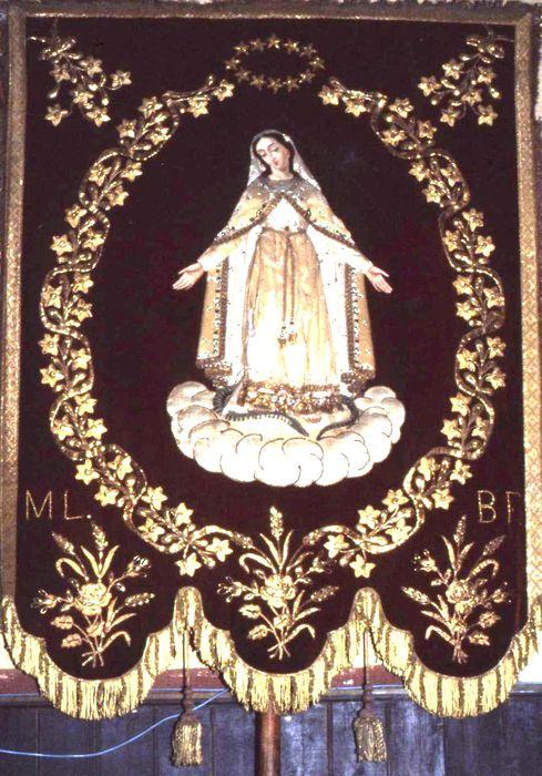 bannière de procession : Vierge de l'Immaculée Conception et Saint Sulpice