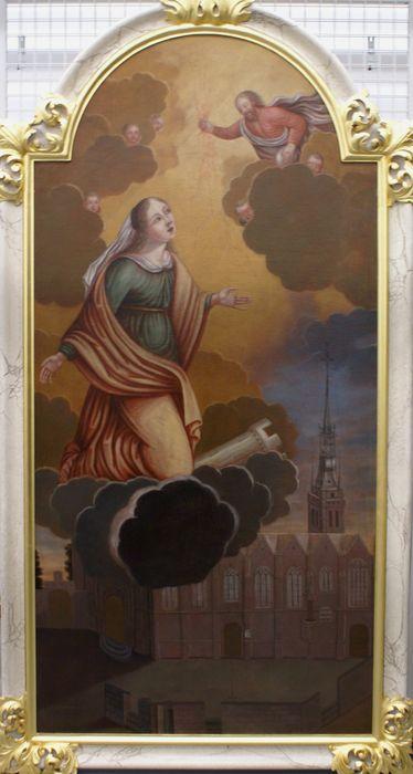tableau ex-voto : Sainte Barbe protégeant l'église de la foudre