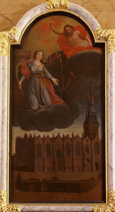 tableau : Sainte Barbe protégeant de la foudre l'église Notre-Dame