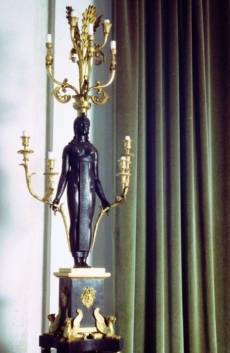 2 pieds porte-luminaire, style retour d'Egypte, style Empire