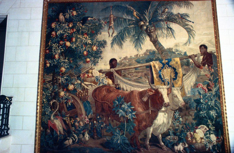 Pièce murale (tapisserie à bordure à tableau) : Nouvelles Indes et les deux taureaux (Les)