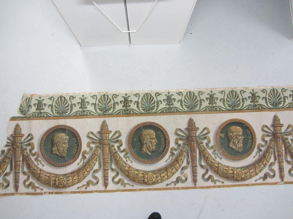 peinture (décor de la bibliothèque) : Platon, Sophocle, Socrate, Cicéron, Aristote, Solon, Pline l'Ancien, Héliode, vue partielle