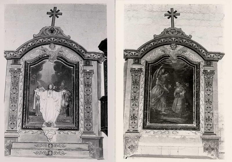 2 retables latéraux et 2 tableaux d'autel : l'Annonciation et Saint Aubert et saint Germain l'Auxerrois