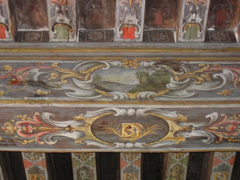 peintures monumentales, solives du plafond, détail