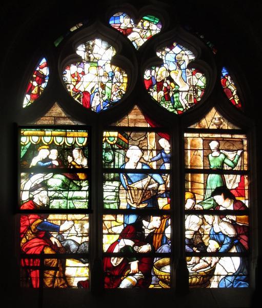 Verrières : la Naissance de la Vierge, les trois Maries, la Mort de la Vierge, l'Arbre de Jessé, légende des pélerins de saint Jacques de Compostelle, la Crucifixion